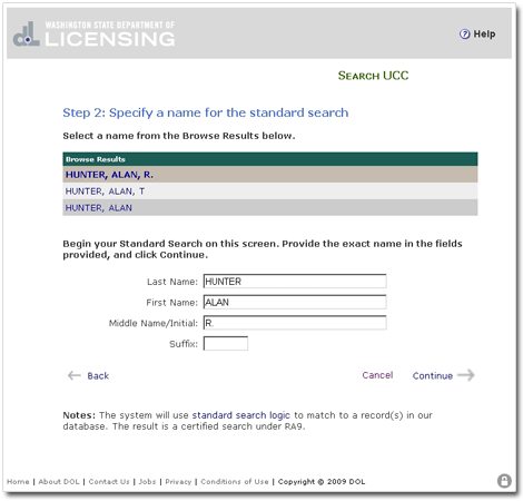 UCC Tutorial : Specify a Name : Searching for UCC Records